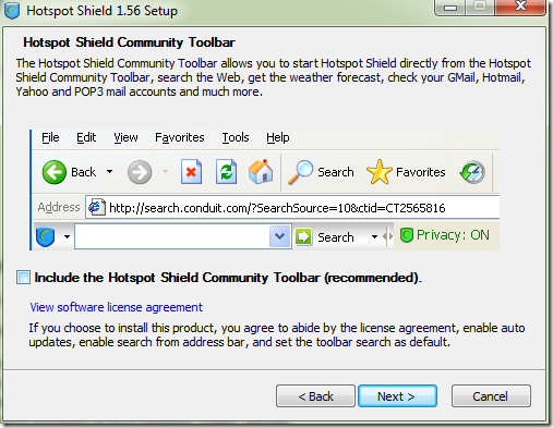 Hotspot Shield Toolbar.