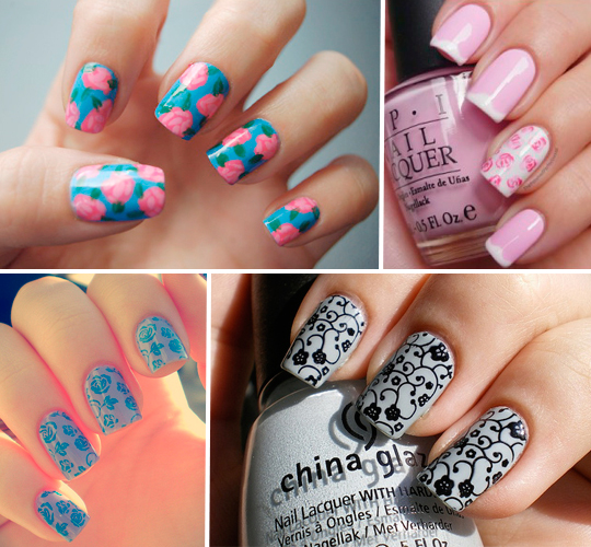 Unhas decoradas com Estampa Floral!