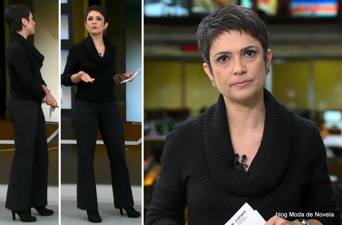 moda do programa Jornal Hoje - look todo preto da Sandra Annenberg dia 11 de julho