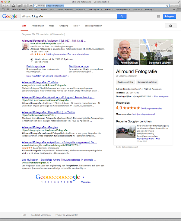 Google 7 resultaten voor branded search