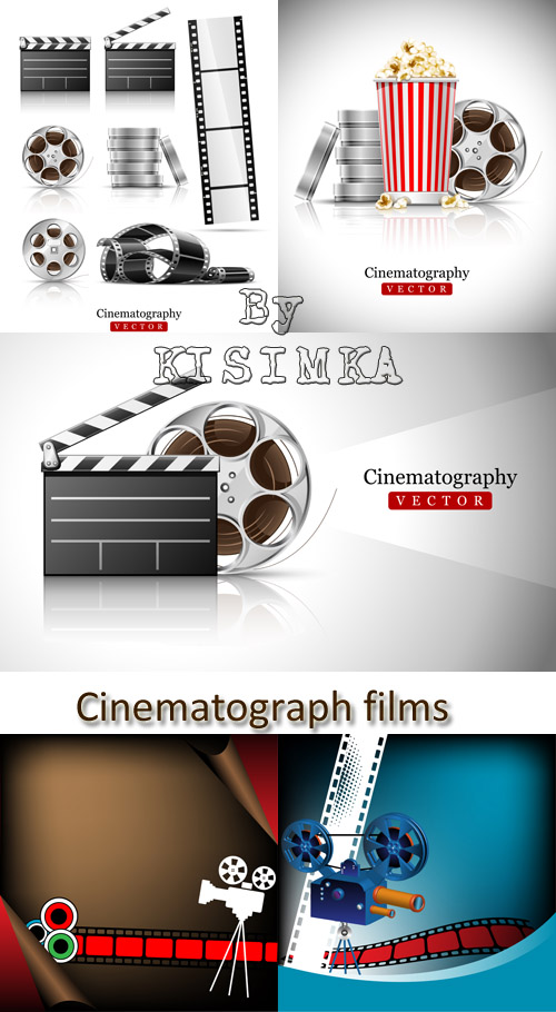 Stock: cinematograph in cinema films and popcorn vector illustration