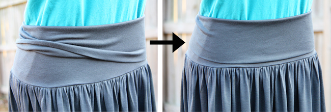 Women's skirt with yoga style waist band – make it and love it.