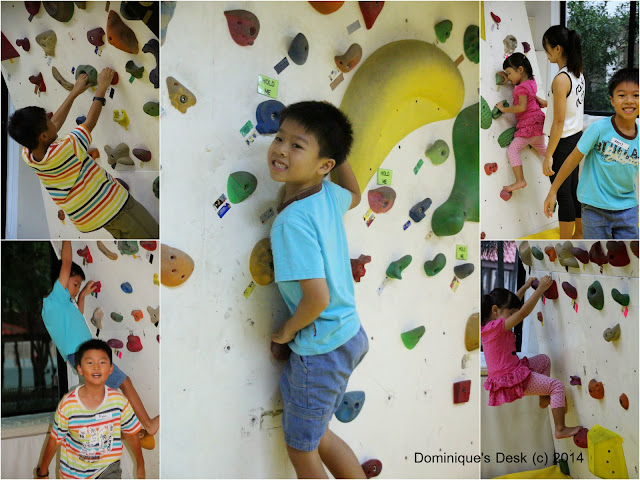 The kids trying the indoor rock climbing course