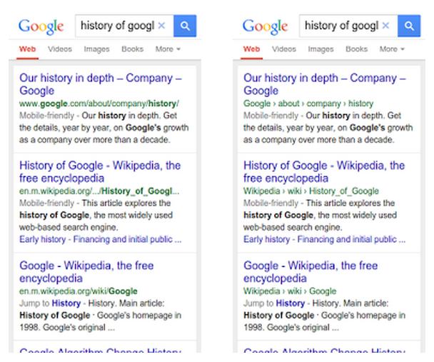 Google Search Breadcrumbs