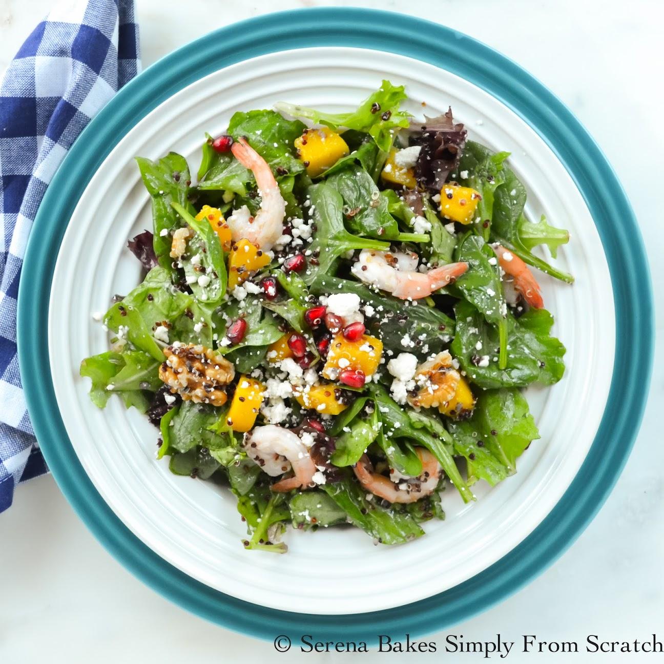 Quinoa Shrimp Pomegranate Spinach Salad with White Balsamic Vinaigrette