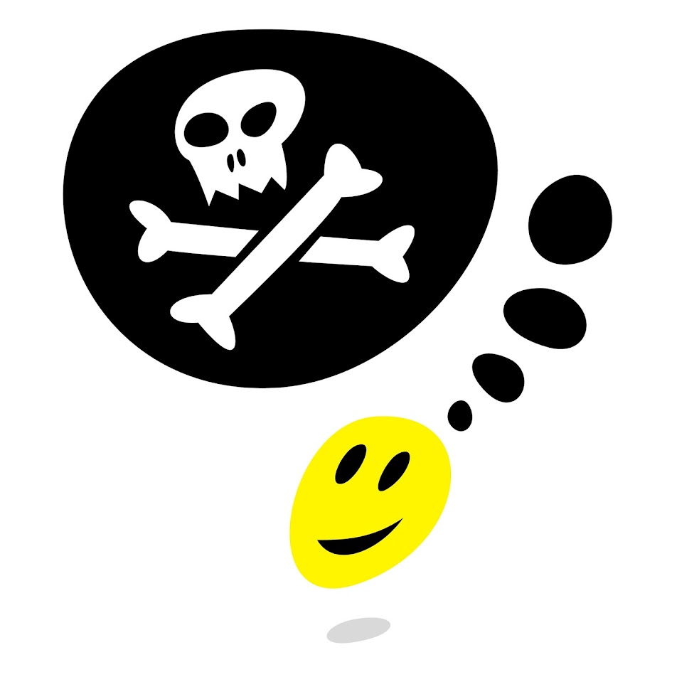 Free Vector Illustration: Yellow smiley face and Jolly Roger with gray drop shadow on white background