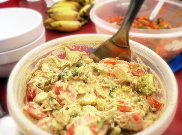 Raw Mango Sour Cream Broccoli Baby corn Salad