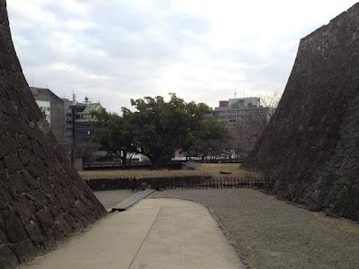 Walled path toward a tree