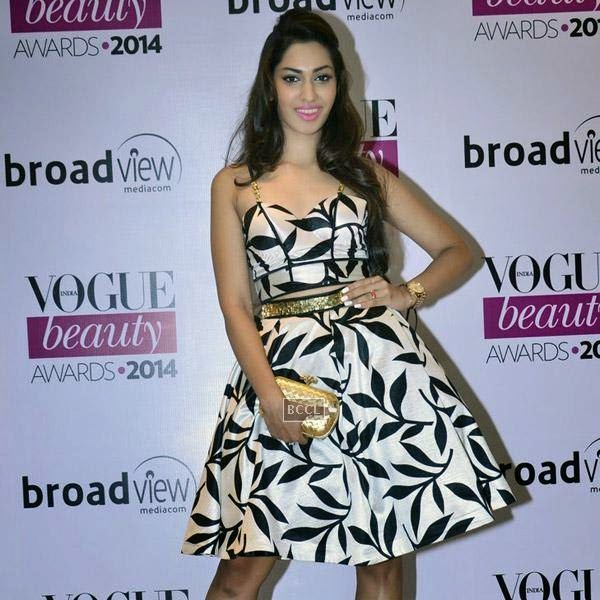 fbb Femina Miss India 2014 first runner-up Jhataleka Malhotra poses as she arrives for Vogue Beauty Awards 2014, held at Hotel Taj Lands End in Mumbai, on July 22, 2014.(Pic: Viral Bhayani)