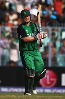 Paul Stirling raised his bat after maiden World Cup hundred, Ireland v Netherlands, World Cup 2011, Group B, March 18, 2011