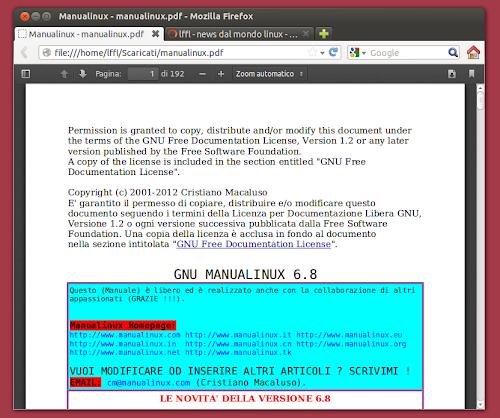 Mozilla Firefox 15 con attivo il plugin PDF reader nativo