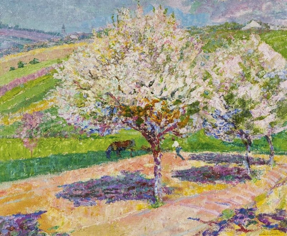 Victor Charreton - Arbres en Fleur dans la Prairie