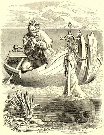 Daniel Maclise - Arthur Receives Excalibur - 1857