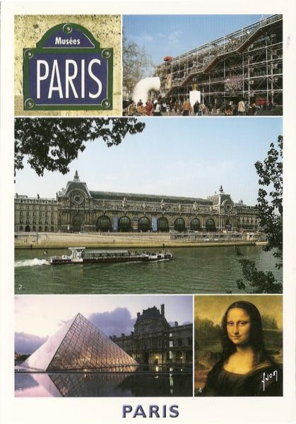 multiview postcard of Paris art and architecture