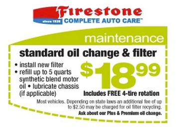 Oil change firestone coupon 12.99