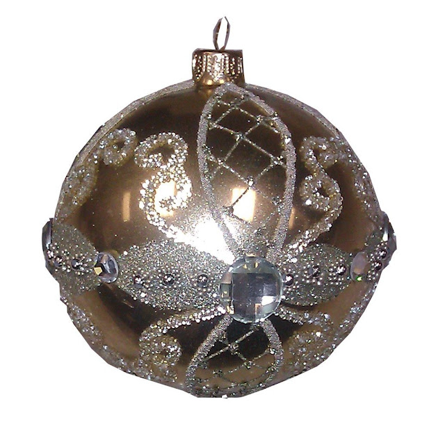 Entertaining with Caspari 4-inch Mouth-Blown Mercury Glass Jeweled Gold and Silver Ball Ornament, 1-Count