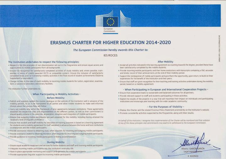 Carta Erasmus del IES ROCES