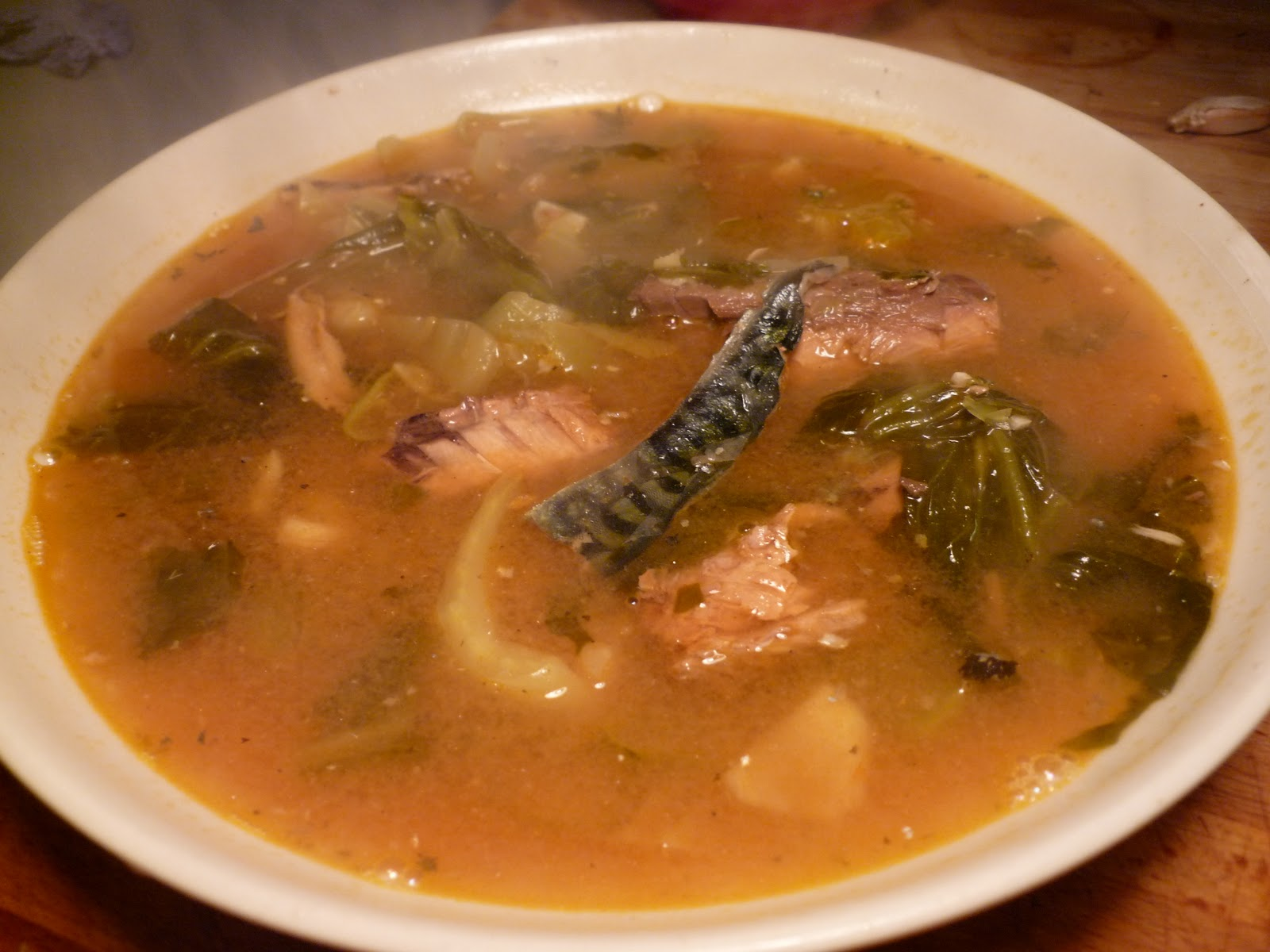 Salad days offal nights fish soup with pickled greens for Fish broth soup