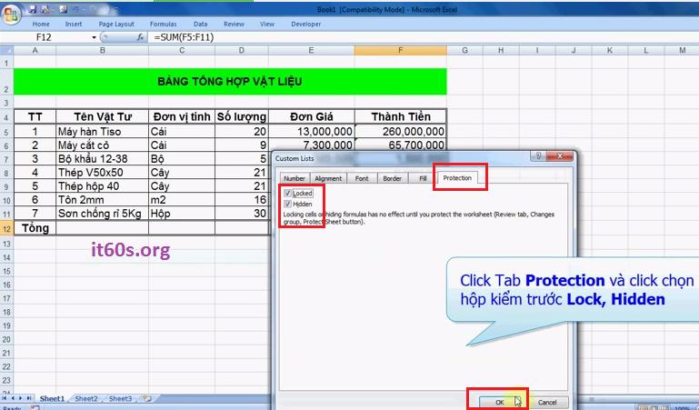 Hướng dẫn cách ẩn công thức trong Microsoft Excel 4