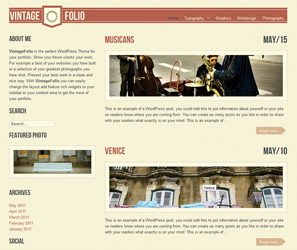 VintageFolio Vintage WordPress Theme