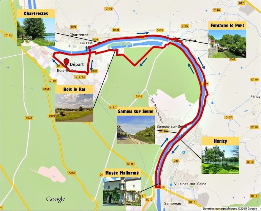 Tracé Circuit à vélo sur les Bords de Seine à Bois le Roi par veloiledefrance.com
