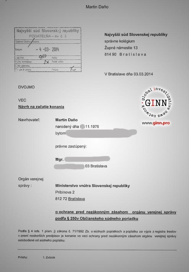Žaloba GINN vs Robert Kaliňák a Ministerstvo vnútra, strana 1