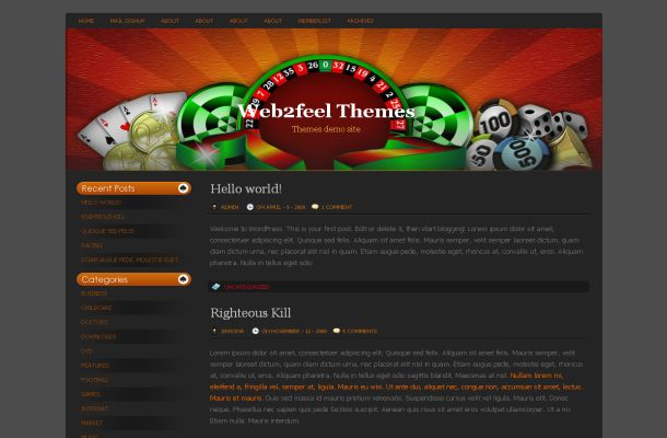 Casino Poker Grey Wordpress Theme Template