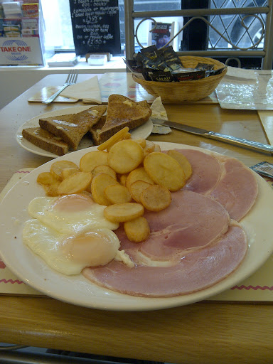 Ham and eggs at Cafe Lila, Mundesley