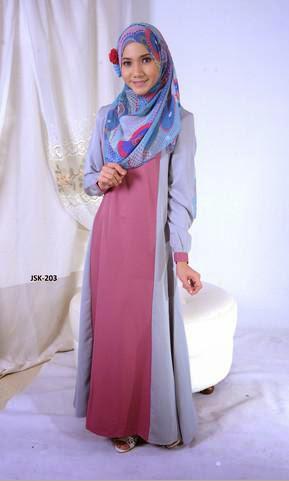 Fesyen Jubah Muslimah Terkini 2014 Kelabu Pink