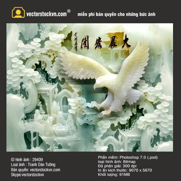 Tranh Ngọc Đại Bàng Đá 3D.