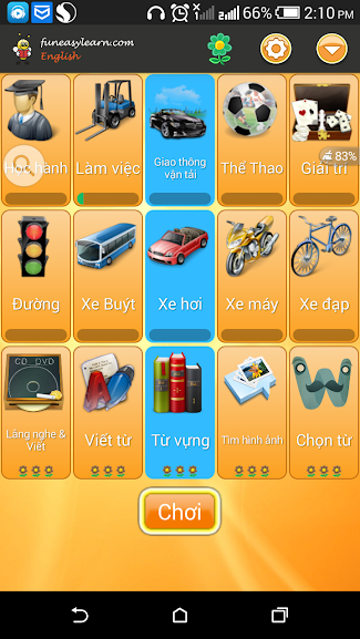 Giao diện chính của ứng dụng Fun Easy Learn English