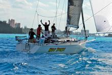 J/120 Hot Ticket sailing into Nassau Harbor, Nassau, Bahamas