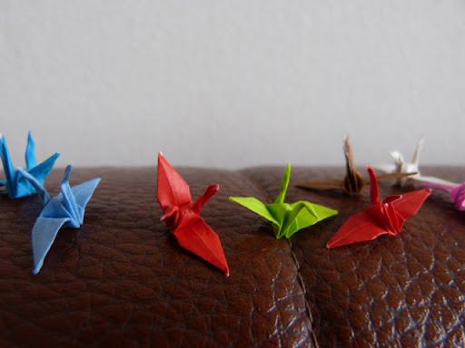 羽鳥さんの奥様が製作されて折り鶴です