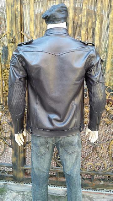áo khoác da thật màu đen cao cấp