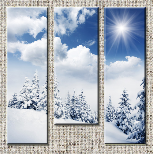 Triptyches, Fourplex - Beautiful winter in the wood