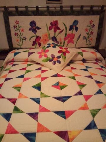 Fraupatchwork y sus ositos colcha patchwork con telas bati cabecero y coj n todo coordinado - Como hacer un cabecero de tela ...