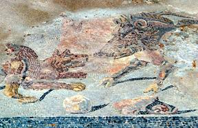 Die Geschichte Siziliens - Bodenmosaik eines römischen Hauses in Palermo.