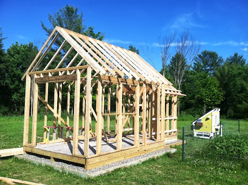 Shed rough framing, 2x4 rafters