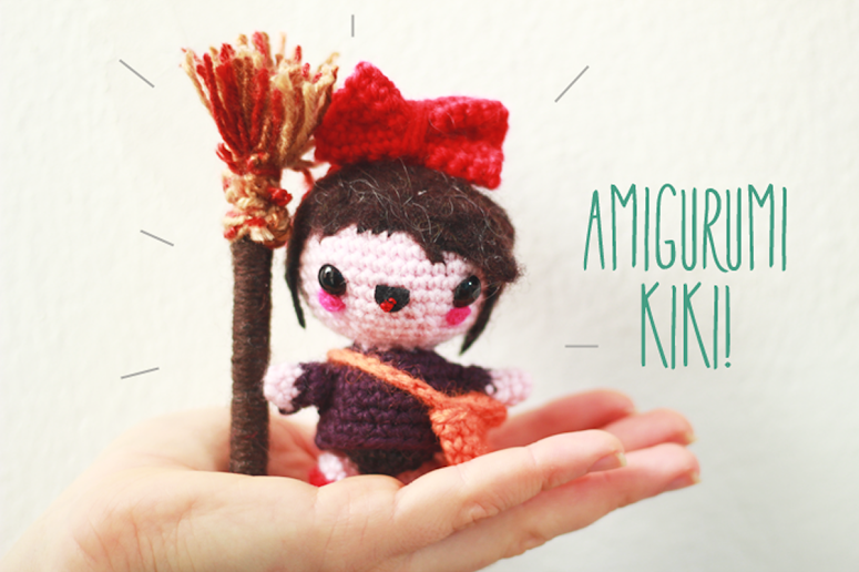 Kiki from Kiki's Delivery Service free amigurumi pattern small crochet project for beginners to intermediate with photo instructions.