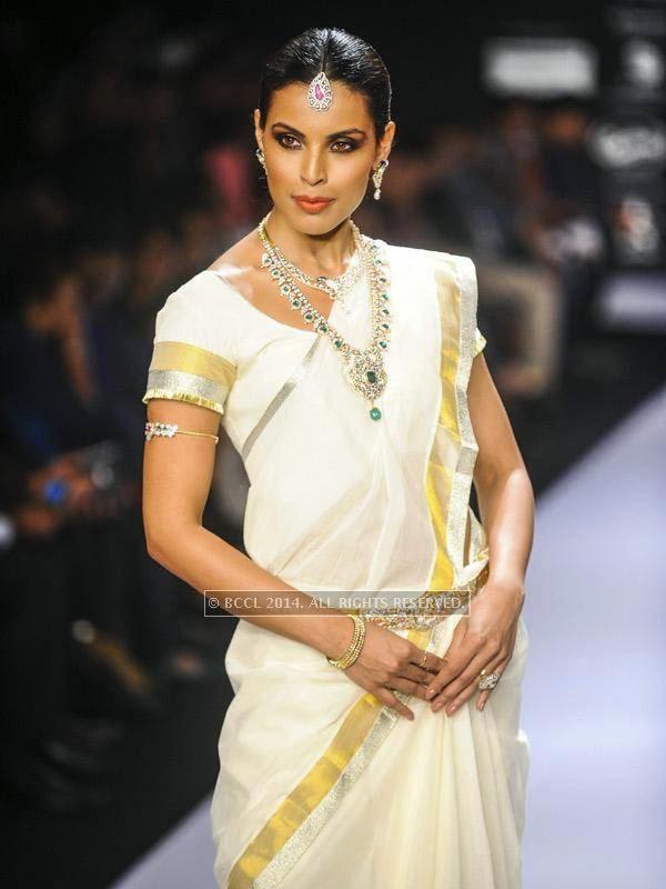Dipti Gujral showcases a design by IIGJ Mumbai on Day 1 of India International Jewellery Week (IIJW), 2014 at Grand Hyatt, Mumbai.