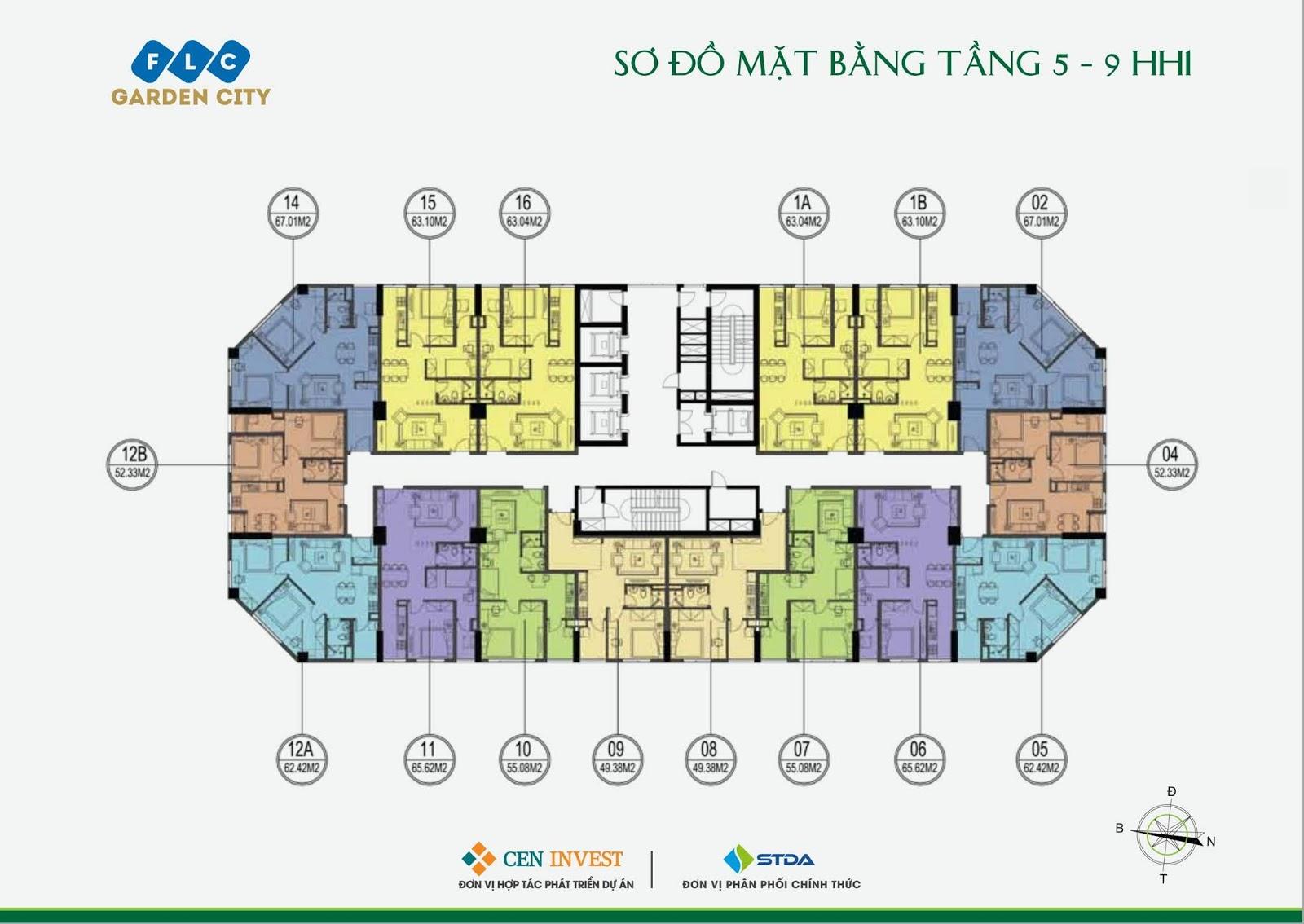 Mặt bằng tầng 05 - 09 Tòa HH1 dự án FLC Garden City Đại Mỗ