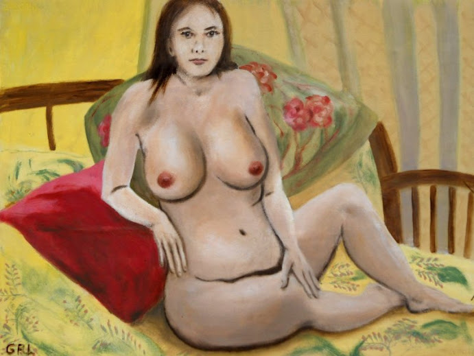 Fine Art Female Nude Seated 2010, an original traditional-modern oil painting