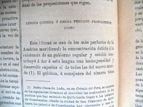 Elogios para la lengua Quechua (Quichua en el libro)