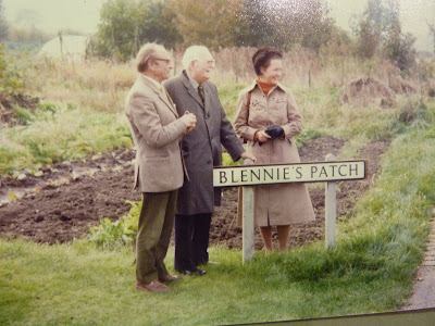 Blennie Powell, Gp Capt Latham and Mrs Nicholls at the opening of the allotments in Blennie's Patch in 1981