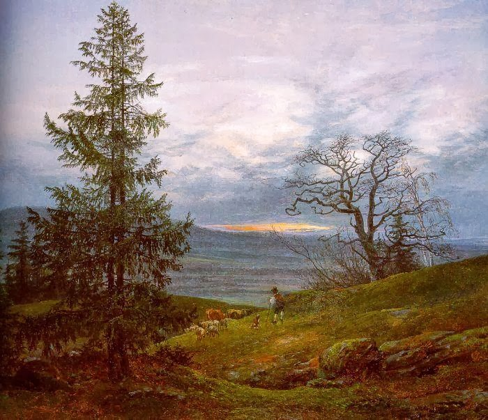 Johan Christian Dahl - Evening Landscape with Shepherd