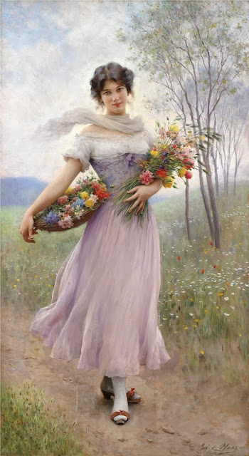 Eugene de Blaas - Girl in a Lilac-Coloured Dress with Bouquet of Flowers