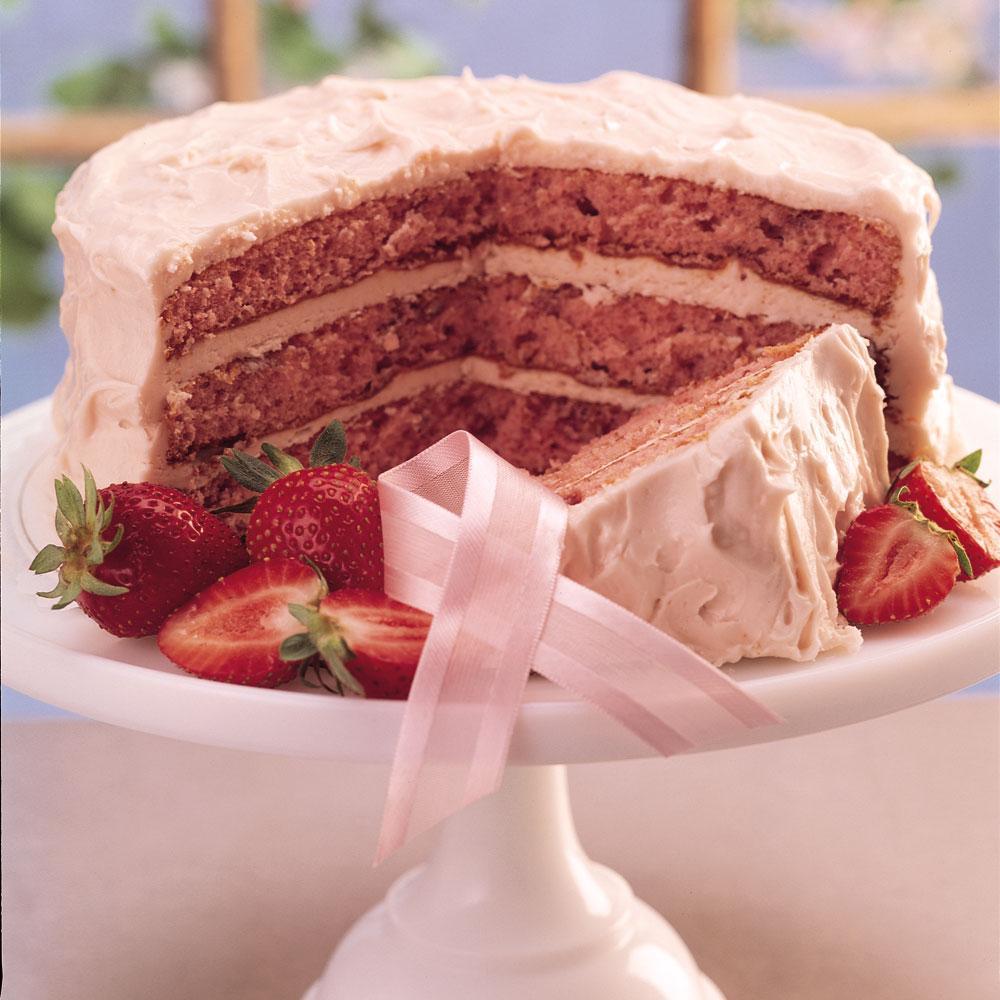 Fresh Strawberry Triple Layer Cake With Strawberry
