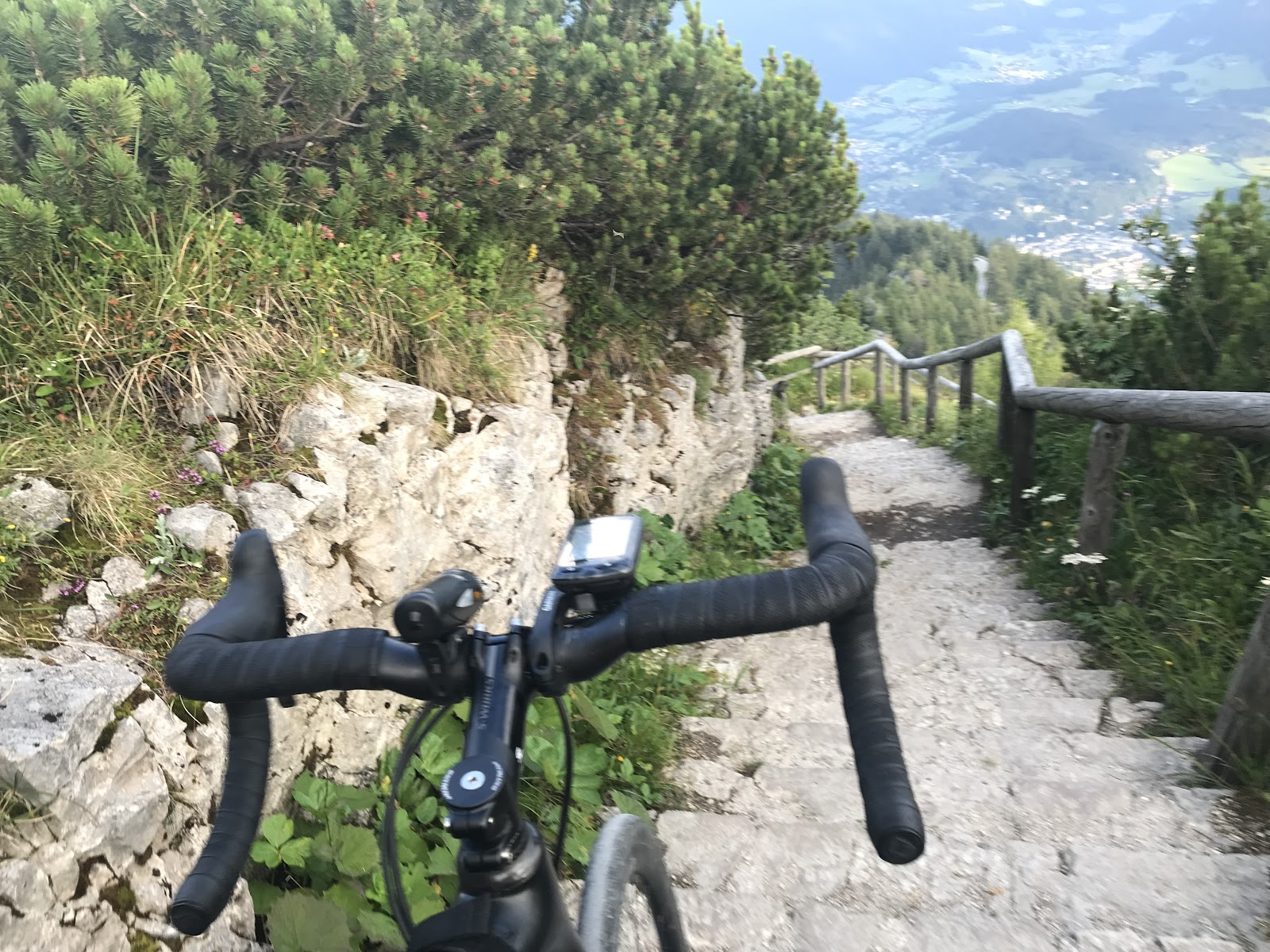 Bicycle ride to Kehlsetinhaus (Eagles Nest) walkway from bus drop to the top, bike, steps