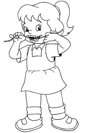 Pinto Dibujos: Niña usando hilo dental para colorear