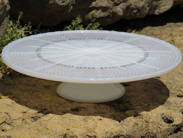 Gold-leaf Milk Glass Cake Stand from the rental inventory of www.momentarilyyours.com